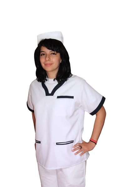 filipina enfermera blanco azul marino